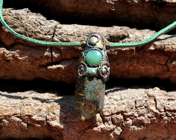 Chrysophrase Orgonite® Necklace, Clay Gemstone Pendant, Unisex