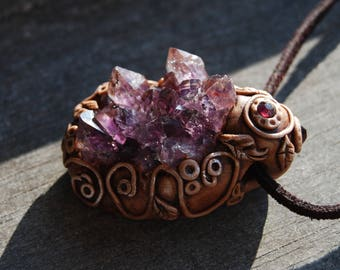 Amethyst Cluster Clay Gemstone Pendant Crystal Purple Tribal Woodland Fantasy Magic Fairy Elven