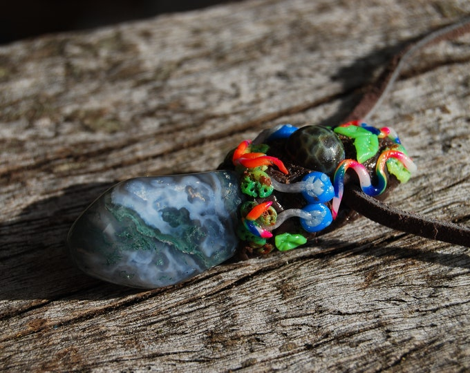 Moss Agate Colorful Clay Pendant UV active Woodland