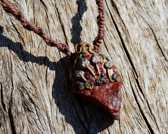 Raw Brecciated Jasper Woodland Mushrooms Pendant, 100% HEMP Cord, Handsculpted Clay Gemstone Necklace
