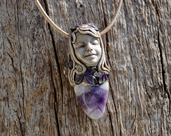 Chevron Amethyst Sweet Angel Pendant Necklace