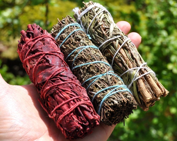 THREE Smudge Sticks  KIT with Dragonblood White Sage, Thyme and Rosemary White Sage Bundles - FREE Delivery