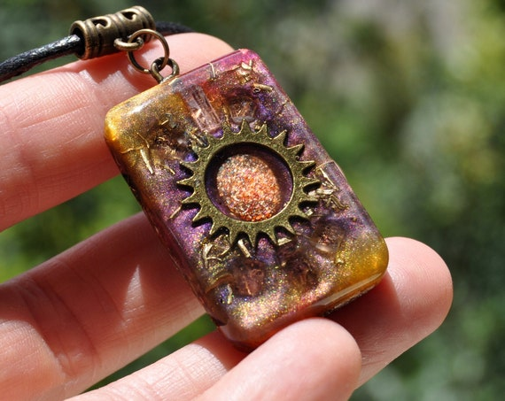 Sunstone with pink Tourmalines Orgonite® orgone Pendant Necklace