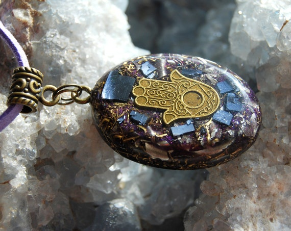 Galena Orgonite® Orgone Necklace, Hand of Mary, Evil Protection, Unisex