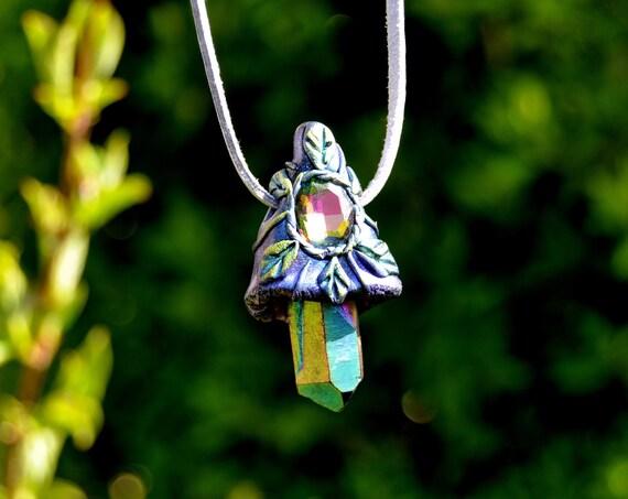 Aura Quartz Magic Mushroom Pendant Necklace - FREE Delivery !