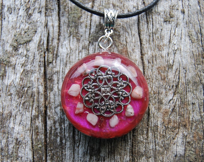 Rhodochrosite Orgonite® Orgone Pendant Necklace