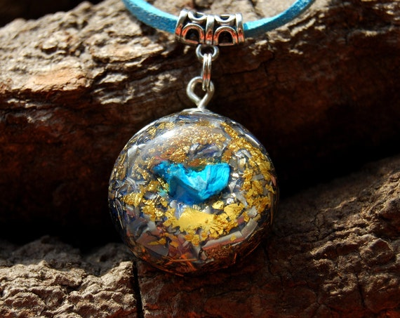 Raw Shattuckite Orgonite® Necklace, Pendant with 24K Gold, Unique, Adjustable faux suede Cord - FREE Shipping !