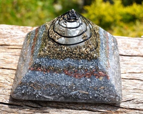 Aquamarine ORGONITE® Pyramid, Large 642 grams - EMF protection Harmonizer