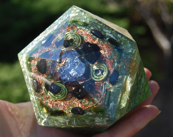 Orgonite® Icosahedron with Galena Crystal, Elite Shungite, black and green Tourmaline