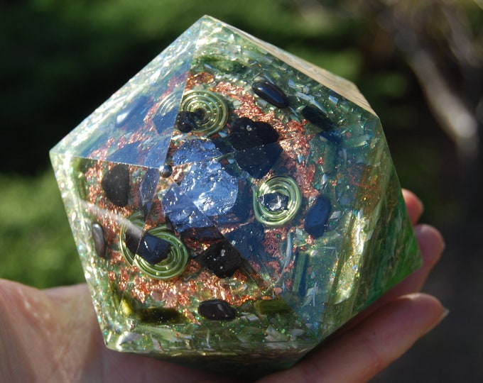 Orgonite® Icosahedron with Galena Crystal, Elite Shungite, black and green Tourmaline