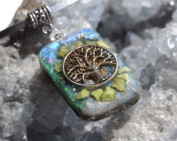 Tree of Life Orgonite® Orgone Pendant with green Opal. Unisex Necklace
