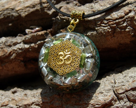 AUM Raw Green Tourmaline Orgonite® Orgone Pendant, Flower of Life pattern, Unisex