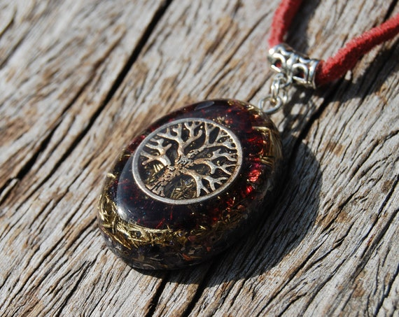 Almandine Garnet Orgonite® Pendant Necklace with TREE Unisex