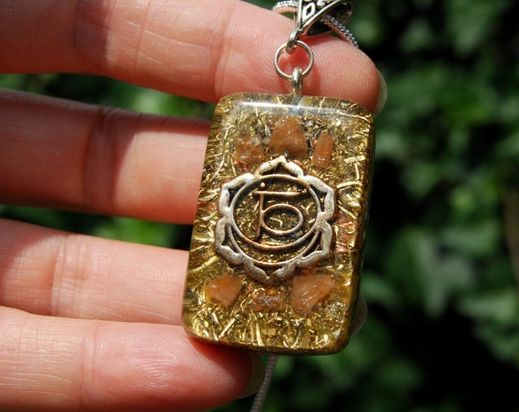 Sacral Second Chakra Orgonite® Orgone Pendant Necklace with raw Orange Calcite