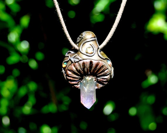 Aura Quartz Magic Mushroom Pendant Necklace - FREE Delivery !