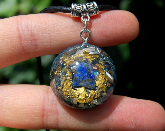 Lapis Lazuli Orgonite® Small Pendant Necklace with 24K Gold, Unisex
