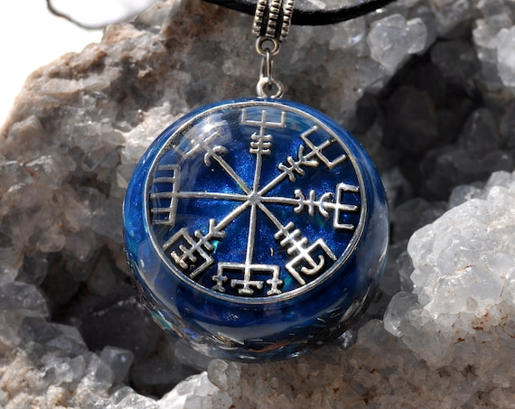 Vegvísir Compass Orgonite® Necklace with Elite Shungite, Unisex Protection Pendant  - FREE Shipping !