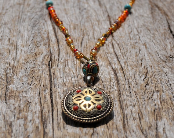 Aum & Vajra Dorje Beaded Necklace - Vintage Pendant