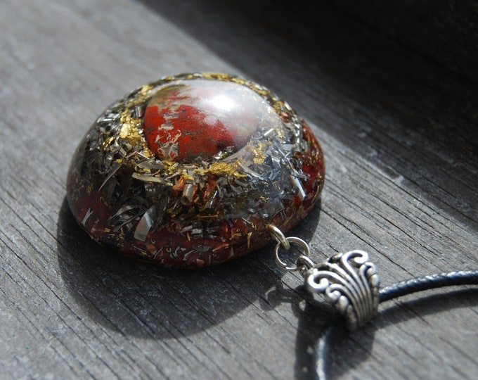 Brecci Jasper Heart Large Orgonite® Orgone Pendant