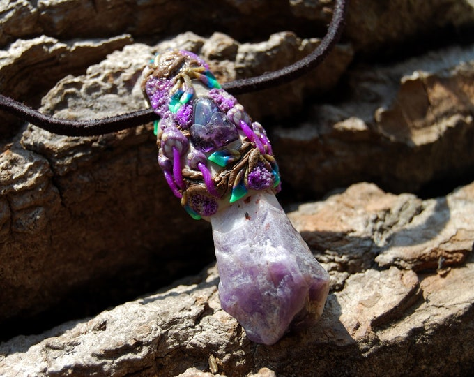 Chevron Amethyst Clay Gemstone Necklace Woodland Fantasy - FREE Shipping !