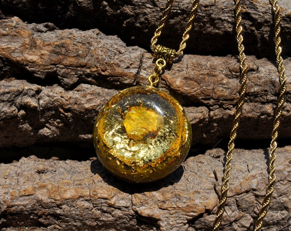 Orpiment Orgonite® Pendant with 24k Gold  - Solar Plexus Will Power,  Hanger Ketting Necklace, Unisex Jewellery - FREE Shipping !