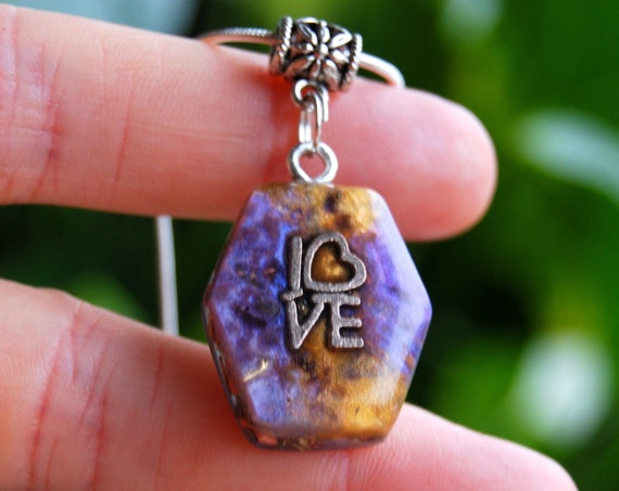 LOVE Orgonite® Orgone Pendant Necklace with clear Quartz, small Hexagon Shape
