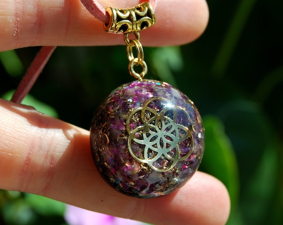 Seed of Life Orgonite® orgone Pendant with raw Amethyst, Unisex Necklace