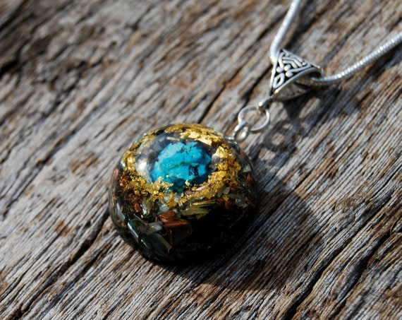 Orgonite® Necklace raw Chrysocolla Small Pendant with 24K Gold, Unique