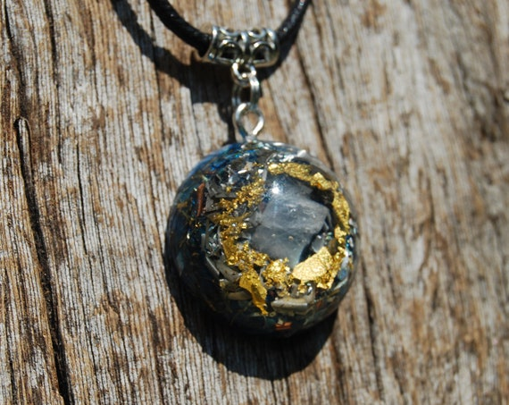 Blue Calcite Orgonite® Pendant Necklace with 24K Gold, Small, Unisex Jewellery