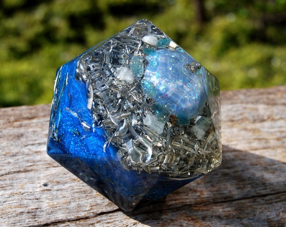 Orgonite® Isocahedron, Double terminated Herkimer, Aquamarine and Blue Apatite  460 grams