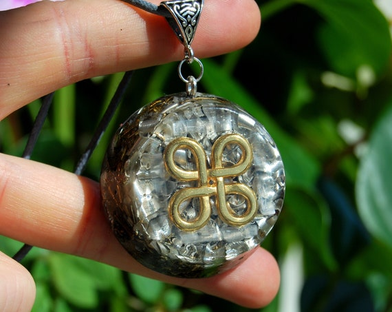 Four Leaf Clover Celtic Knot Orgonite® Necklace with Selenite EMF Protection