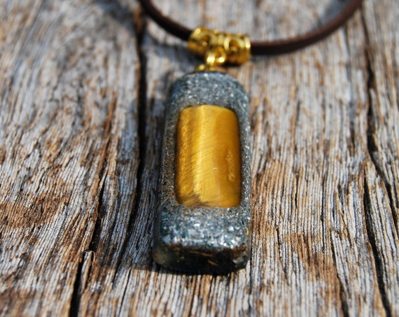 Tiger Eye Orgonite® Pendant, Infinity Necklace,  Unisex, Rectangle Shaped