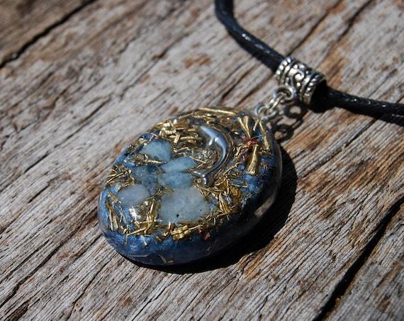 Aquamarine Orgonite® Pendant Necklace, Dolphin, Unisex