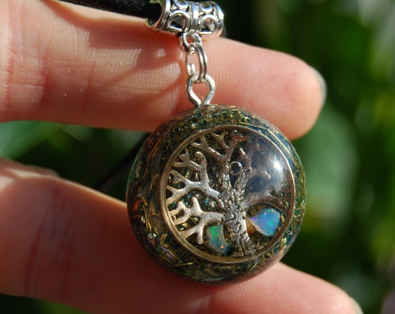 White Precious Welo Opal Orgonite® Necklace, Tree of Life, Small Pendant, Unisex
