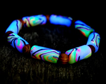 Fluorescent Bracelet Blacklight Handsculpted Clay