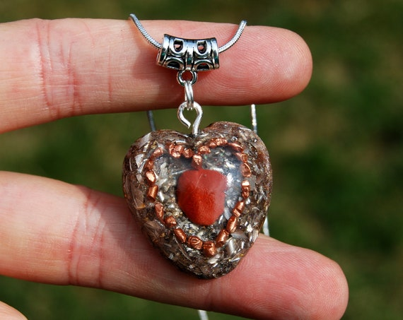 Red Jasper Heart Orgonite® pendant Necklace, Love lovers, First Chakra Healing