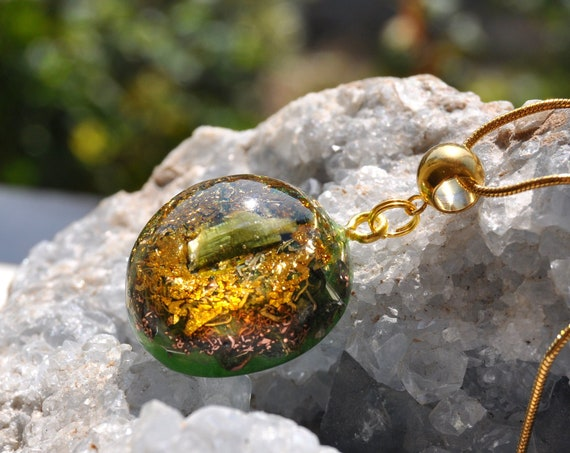 Green Tourmaline Orgonite® Pendant with 24K Gold, Heart Chakra Vitality - Free Shipment