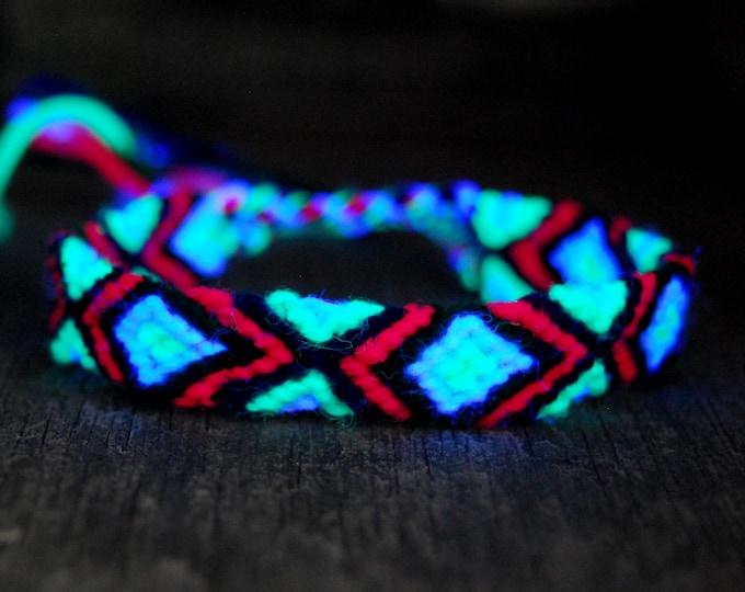 Friendship Bracelet Handwoven Psytrance UV Blacklight Reactive