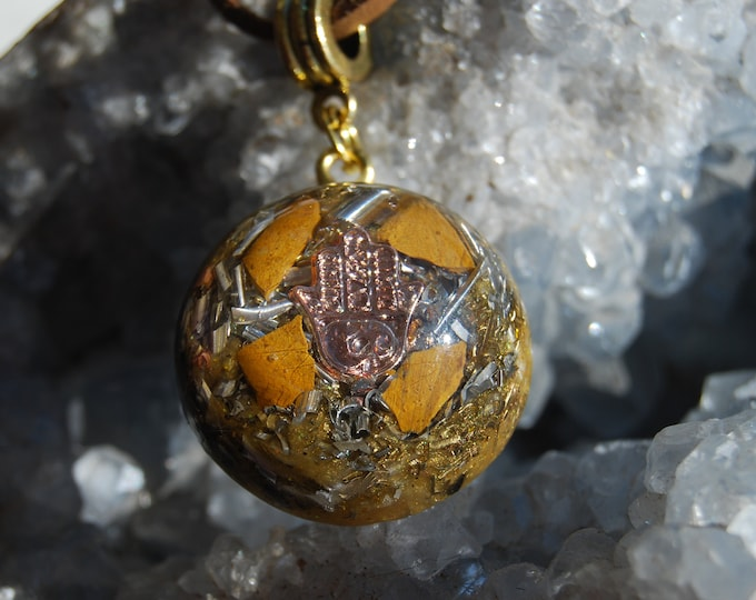 Protection Hand of Mary Orgonite® Orgone Pendant Yellow Jasper