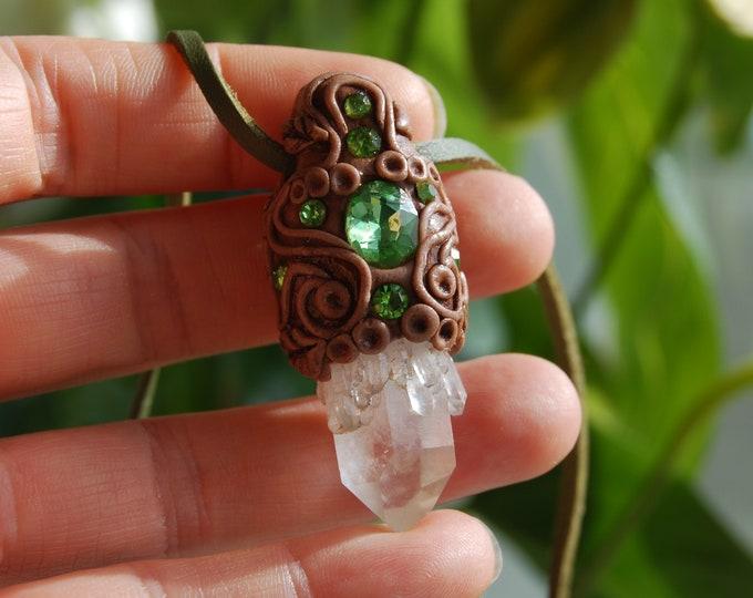 Pineapple Quartz Crystal Pendant Necklace with Shiney Unique