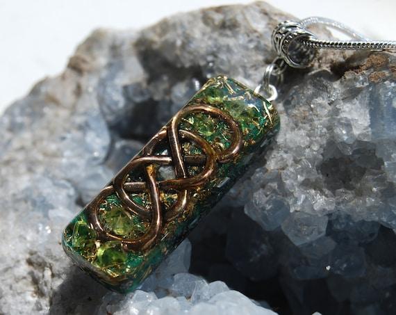 Peridot Orgonite® Infinity Lemniscate Orgone Pendant Necklace