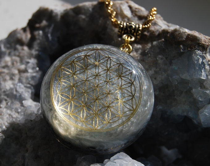 Moonstone Flower of Life Orgonite®Pendant Necklace