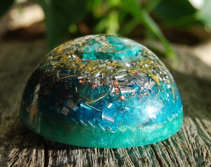 LARGE Dome Orgonite®, raw Chrysocolla Orgone Generator® with 24K GOld