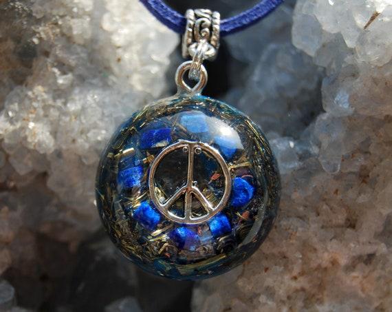 Raw Lapis Lazuli PEACE Orgonite® Orgone Pendant FREE Shipping !