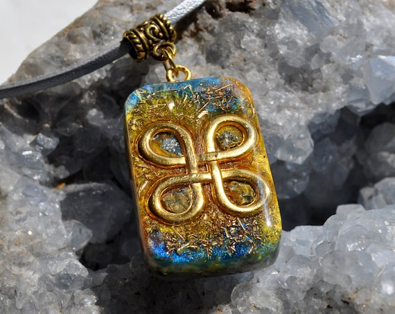 Galena Orgonite® Pendant Necklace, Celtic Knot, EMF Protection, Unisex