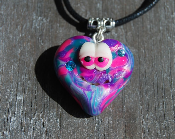 Cute Heart Necklace, UV Active Pendant, Glows in Blacklight, Handsculpted Clay
