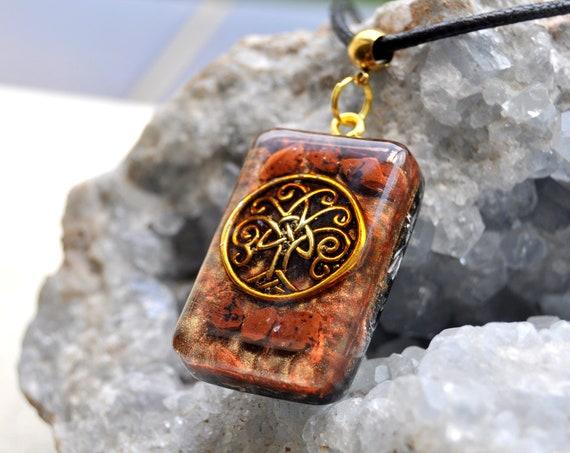 Mahogany Obsidian orgone Orgonite® Pendant, Tree of Life Necklace