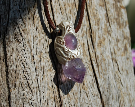 Amethyst Crystal Point Necklace, Handsculpted Clay