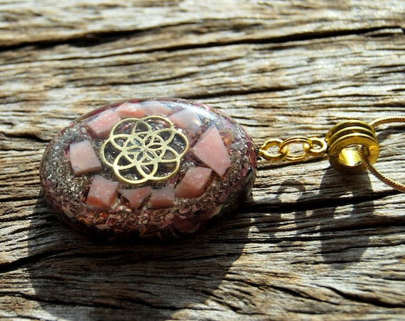 Seed of Life Orgonite® Pendant, raw pink Opal,  Sacred Geometry Necklace  - FREE Shipping !