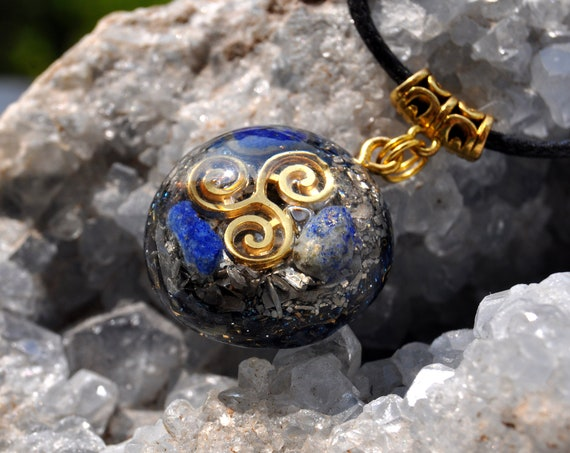 Lapis Lazuli Orgonite® Small Pendant Triskele Celtic Spiral Necklace